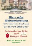 Weinverkostung Bierverkostung 23.-24.03.17 Plakat